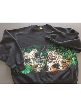 Vintage 90's Habitat White Tiger Nature Sweatshirt Large Usa Made Double Sided by Habitat