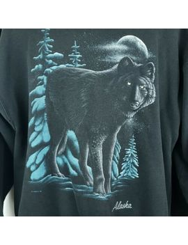 Vintage 90s Alaska Black Wolf Print Xl Sweatshirt Signal Sports Habitat Usa Made by Signal Sports
