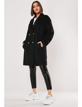 Black Contrast Horn Button Oversized Coat by Missguided