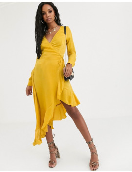 Missguided Satin Midi Dress With Button Detail In Yellow by Missguided's