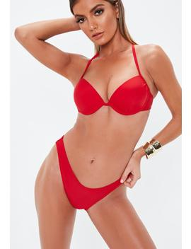 Red Mix And Match Underwire U Bikini Top by Missguided