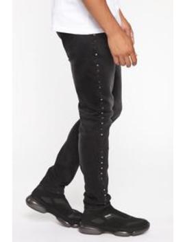 Swae Studded Skinny Jean   Black by Fashion Nova