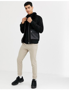 River Island Harrington Jacket In Black With Fleece Collar by River Island