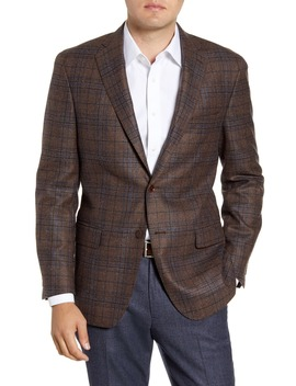 Classic Fit Plaid Wool & Silk Sport Coat by Hart Schaffner Marx