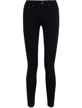 Brodie Distressed Mid Rise Skinny Jeans by Anine Bing