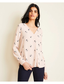 Floral Mixed Media Pleat Front Top by Ann Taylor