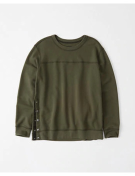 Side Snap Crewneck Sweatshirt by Abercrombie & Fitch