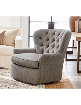 Cardiff Upholstered Swivel Armchair by Pottery Barn