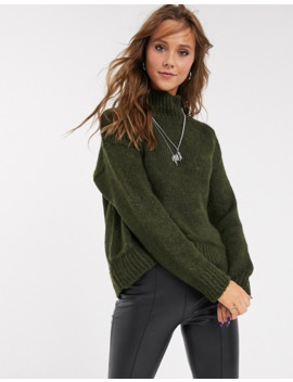 Topshop Jumper With Button Shoulders In Khaki by Topshop