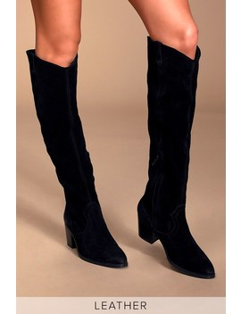 Izzy Black Suede Leather Knee High Boots by Sbicca