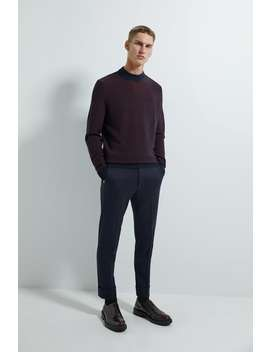 Textured Weave Mock Neck Sweater by Zara