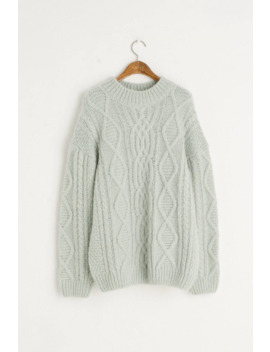Chunky Aran Jumper, Mint by Olive