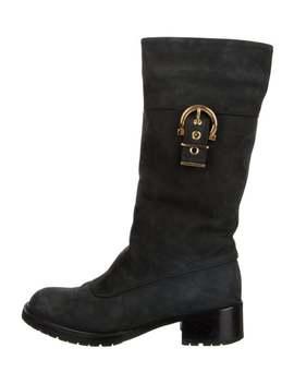 Suede Mid Calf Boots by Salvatore Ferragamo