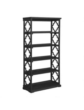 Tall Black Wood Quatrefoil Abbey Bookshelf by World Market