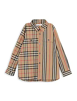 Little Boy's & Boy's Iconic Print Shirt by Burberry
