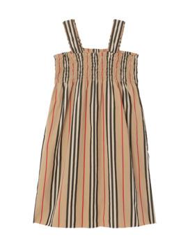 Junia Icon Stripe Smocked Sun Dress, Size 3 14 by Burberry