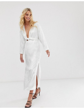 &Amp; Other Stories Floral Jacquard Maxi Dress In White by & Other Stories