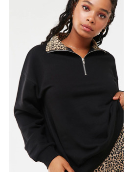 Leopard Trim Half Zip Pullover by Forever 21
