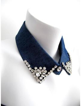 Indigo Crystal Beads Faux Collar, Handmade Collar, Beaded Fake Collar, Indigo Detachable Fake Collar, Denim Collar&Amp;Bib Faux Collar // Lorca by Etsy
