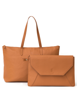 Motile™ Vegan Leather Commuter Tote Bag With 3,000 M Ah Qi Certified Wireless Charging Battery System, Camel by Motile