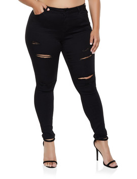 Plus Size Wax Ripped Jeans | 3870071610172 by Rainbow