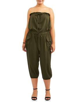 Thread Story Juniors' Plus Size Cargo Capri Jumpsuit by Thread Story