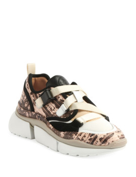 Sonnie Embossed Leather Buckle Sneakers by Chloe