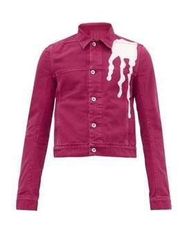 Abstract Drop Print Cotton Denim Jacket by Rick Owens Drkshdw