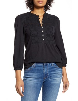 Appliqué Bib Cotton Henley Top by Lucky Brand