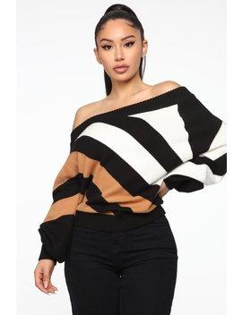 Clarissa Long Sleeve Sweater   Black/Taupe by Fashion Nova