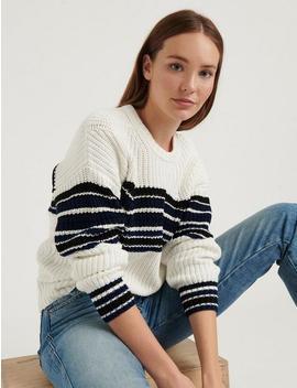 Ellie Stripe Crew Sweater by Lucky Brand