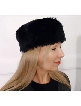 Faux Fur Hat   Russian Style   Black   Eco Fur   Elegant Winter Hat by Etsy