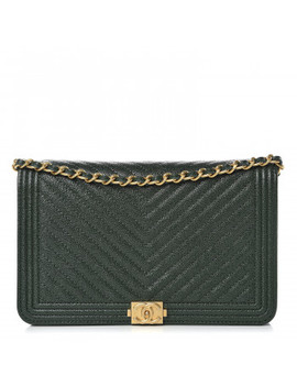 Chanel Caviar Chevron Quilted Boy Wallet On Chain Woc Green by Chanel