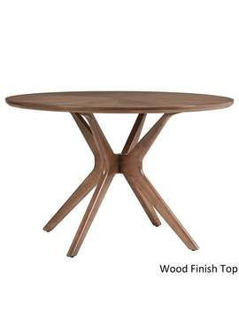 Nadine Mid Century Walnut Finish Round Dining Table By I Nspire Q Modern by I Nspire Q Modern