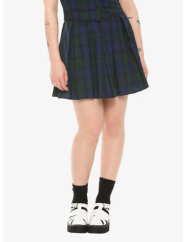 Green & Blue Plaid Pleated Skirt by Hot Topic