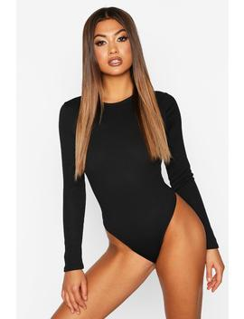 Rib Long Sleeve Bodysuit by Boohoo