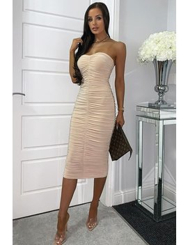 Nude Extreme Ruched Slinky Midi Dress   Kaja by Rebellious Fashion