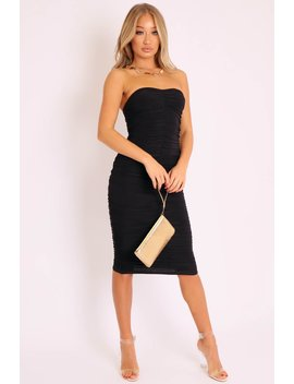 Black Extreme Ruched Slinky Midi Dress   Kaja by Rebellious Fashion