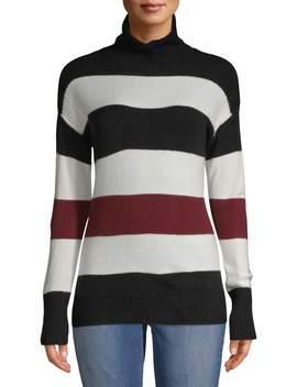Women's Stripe Turtleneck Sweater by Per Se
