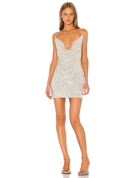 Baldwin Cowl Neck Mini Dress In Silver by Jay Godfrey