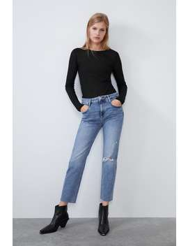 Slim Fit Hi Rise Ripped Jeans by Zara