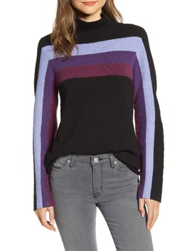 Stripe Detail Mock Neck Sweater by Wit & Wisdom