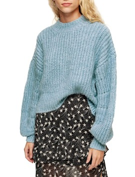 Balloon Sleeve Mock Neck Sweater by Topshop