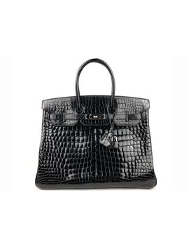Hermes Birkin Shiny Crocodile Porosus Palladium 35 Noir by Stock X