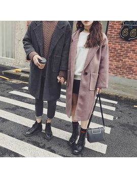 Mowak   Couple Loose Fit Wool Coat by Mowak