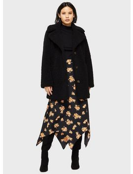 Black Longline Teddy Coat by Miss Selfridge