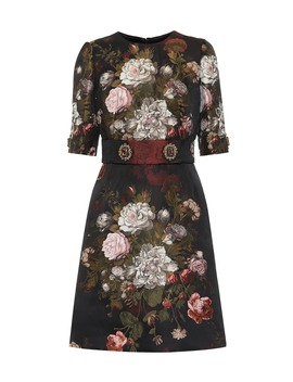 Embellished Floral Jacquard Minidress by Dolce & Gabbana