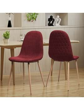 Caden Mid Century Fabric Dining Chair (Set Of 2) By Christopher Knight Home   Red   Side Chairs   Upholstered/Metal by Christopher Knight Home