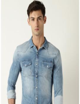 Men Blue Smart Slim Fit Faded Denim Shirt by Blue Saint