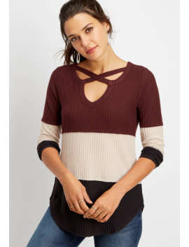 24/7 Colorblock Strappy Neck Waffle Thermal Tee by Maurices